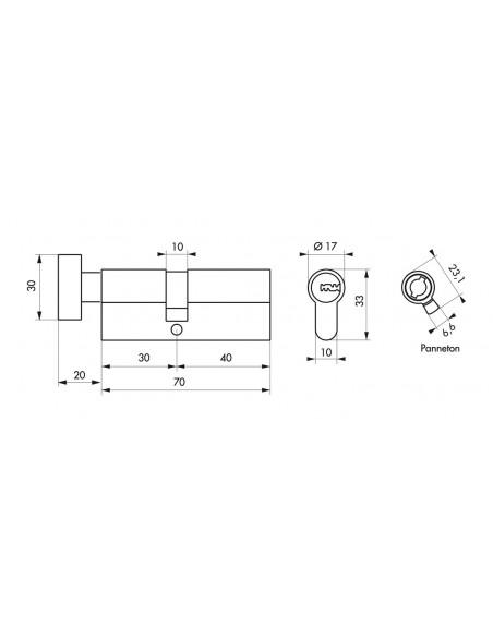 Cylindre bouton 30x40 mm 5 clés longues fonction urgence