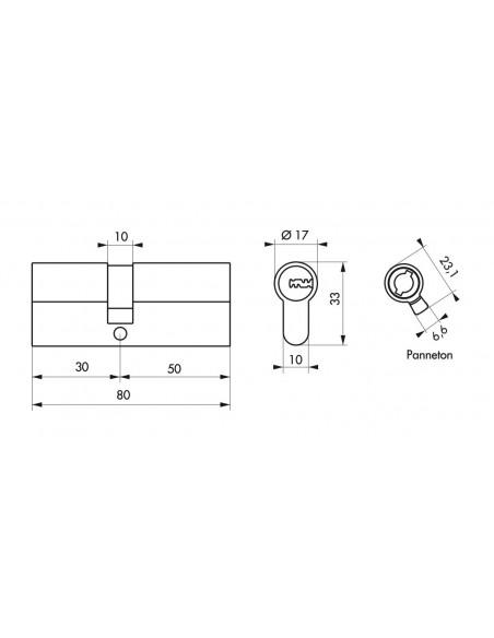 Cylindre 30x50 mm 5 clés longues fonction urgence