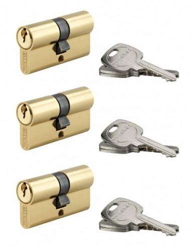 Coque de 3 cylindres 30 x 30 mm s'entrouvrant 9 clés