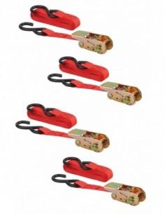 Set de 4 sangles à cliquet 25mm x 4,50m crochet s - rouge