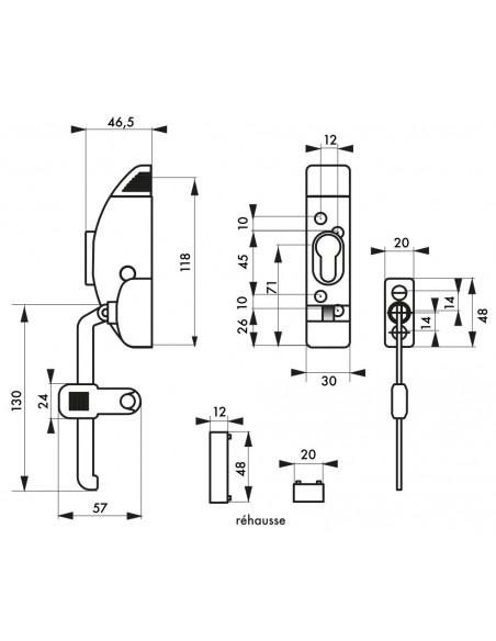 Boîtier Entrebailleur de fenetre blanc sans cylindre