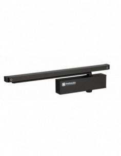 Ferme-porte hydraulique design réversible noir avec bras coulisse antivandalisme force 3