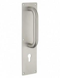 Poignée tirage inox avec plaque 300x75 mm - pour cylindre profilé