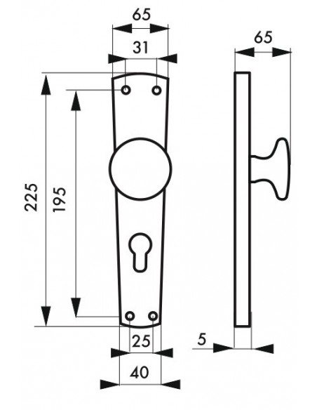 Bratislava laiton trou de cylindre (1/2 ensemble bouton fixe)