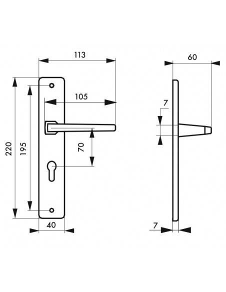 Picardie trou de cylindre, i carré 7 mm entr'axe 70