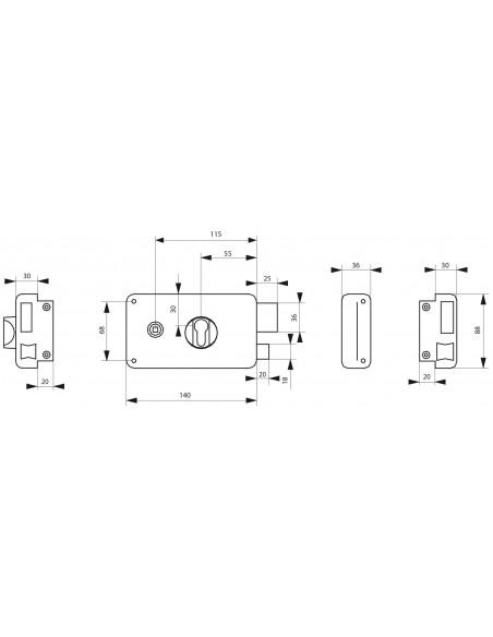 Boîtier à cylindre profilé 140 x 88 mm droite