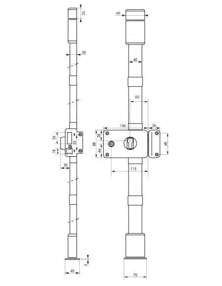 Boîtier de serrure horga blanc à fouillot 140 x 88 mm droite