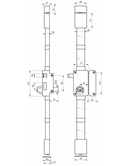 beluga blanche cr hg5 à tirage 75 x 130 droite 4 clés