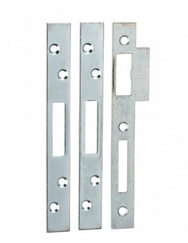 Jeu de gâches plates 20 mm bouts carrés (3 pênes rectangulaires)