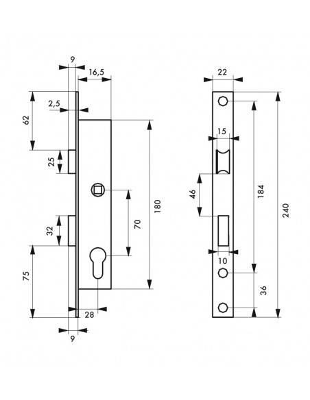Boîtier serrure à cylindre panneton réduit axe 16,5 l 28mm e70 réversible