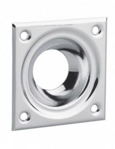 Entree à cuvette laiton chromé 60 x 60 pour verrou de sureté cylindre Ø 23 mm