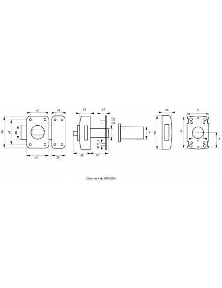 Adriatic à bouton et cylindre pour porte de 40 à 45 mm maxi a2p*