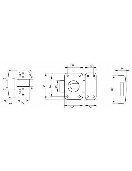 Capital à bouton et cylindre 90 mm