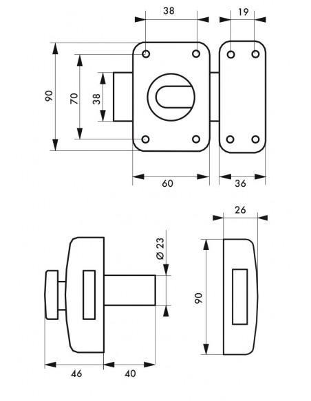 Transit 2 à bouton et cylindre 40 mm