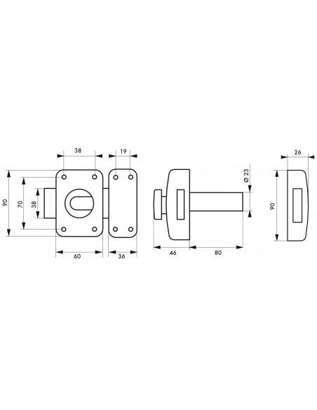 Transit 2 à bouton et cylindre 80 mm