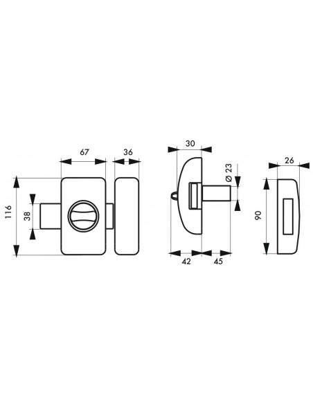 Universel 6 goup. 45 mm argent 4 clés réversible