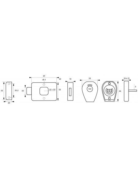 Verrou pour wc - 65 mm