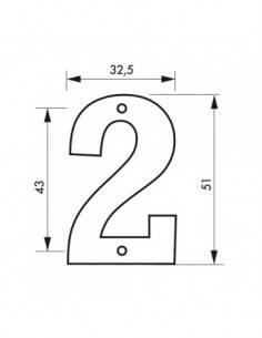 """Chiffre 2"""" hauteur 51mm à visser"""""""