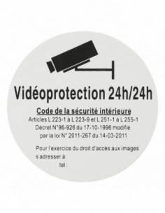 """Plaque signalétique Ø 80mm vidéoprotection 24/24"""" avec adhésif"""""""