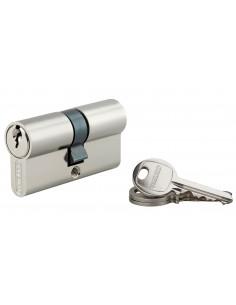 Cylindre 30 x 30 mm 3 clés avec vis de 50 mm nickelé
