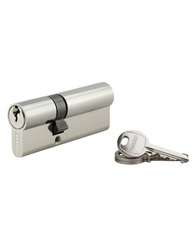 Cylindre 30 x 50 mm 3 clés avec vis de 45 mm nickelé
