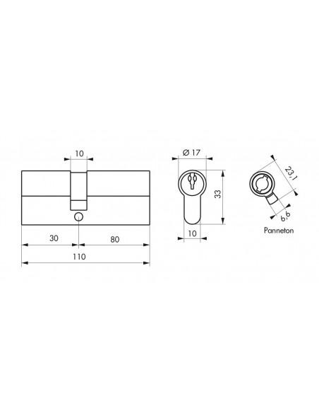 Cylindre 30 x 80 mm laitonné 3 clés