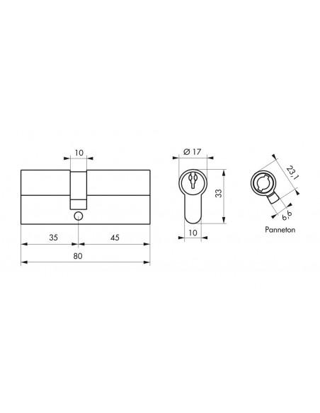 Cylindre 35 x 45 mm 3 clés avec vis de 45 mm nickelé