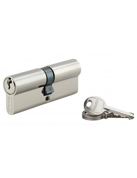 Cylindre 40 x 40 mm 3 clés avec vis de 40 mm nickelé