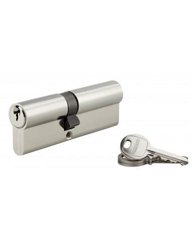 Cylindre 40 x 50 mm 3 clés avec vis de 40 mm nickelé