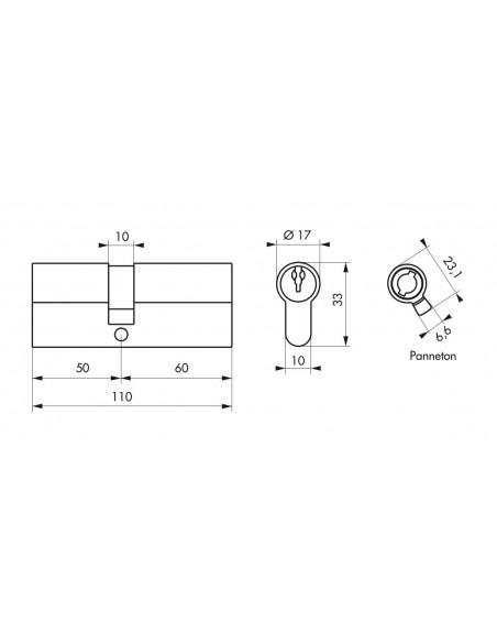 Cylindre 50 x 60 mm 3 clés nickelé