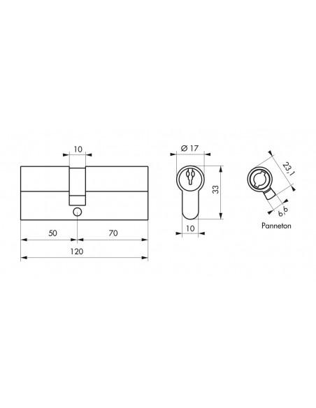 Cylindre 50 x 70 mm 3 clés nickelé