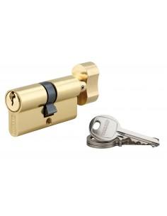 Cylindre à bouton 30 x 30 mm laitonné 3 clés