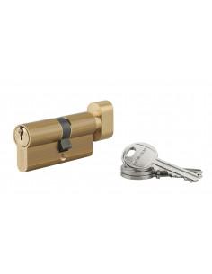 Cylindre à bouton 30 x 35 mm 3 clés laiton