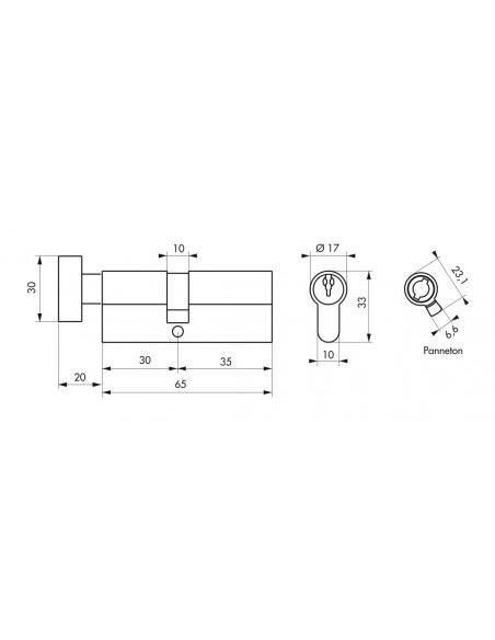 Cylindre à bouton 30 x 35 mm 3 clés nickelé
