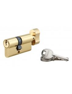 Cylindre à bouton 35 x 25 mm laitonné 3 clés