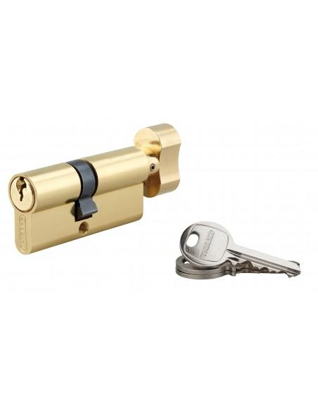 Cylindre à bouton 40 x 30 mm laitonné 3 clés