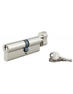 Cylindre à bouton 40 x 50 mm nickelé 3 clés