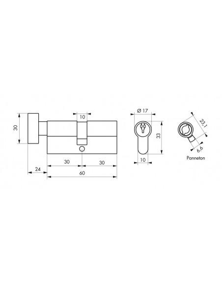 Cylindre à bouton profile eco 30 x 30 mm bouton nickelé