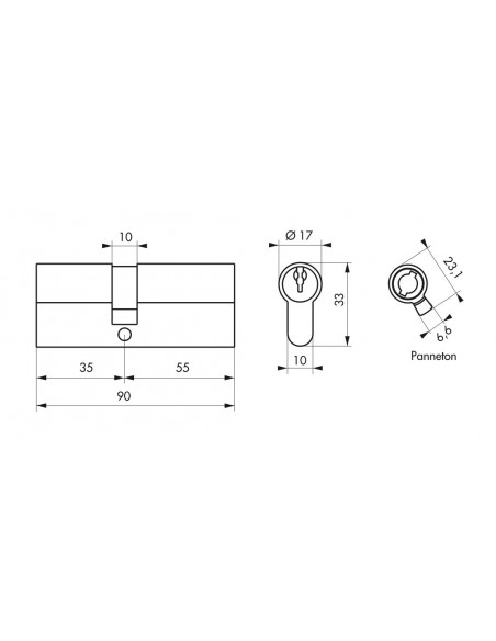 Cylindre profile eco 35 x 55 mm laiton