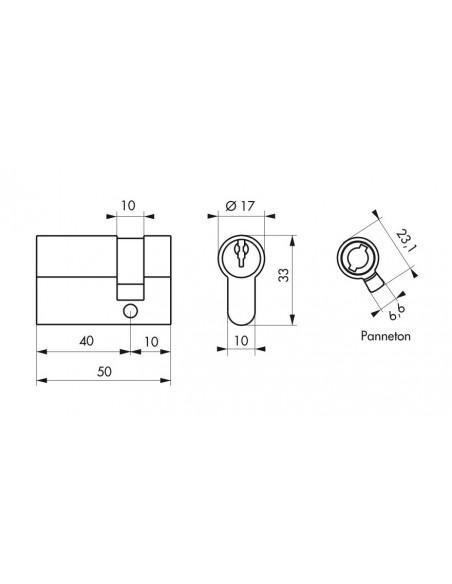 Cylindre profile eco 40 x 10 mm laiton