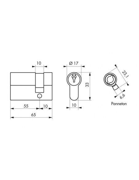 Demi-cylindre 55 x 10 mm 3 clés laiton