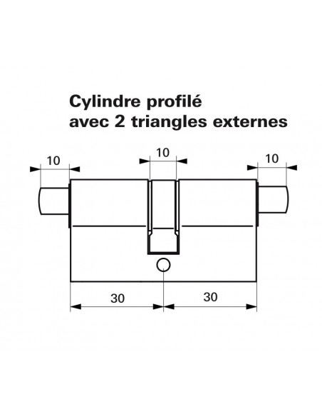 Cylindre profile hg 30x30 - 2 triangles externes 11 laiton