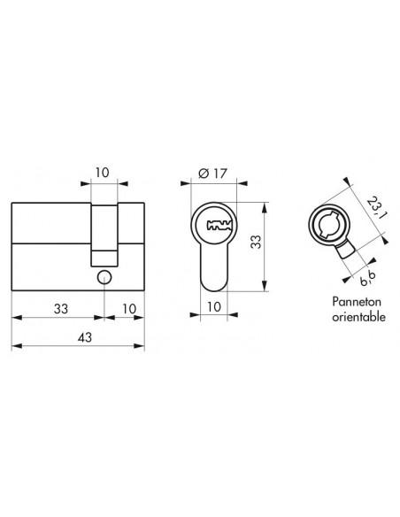 1/2 cylindre cobra 2 + 33 x 10 mm panneton orientable
